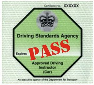 Driving instructor pass badge