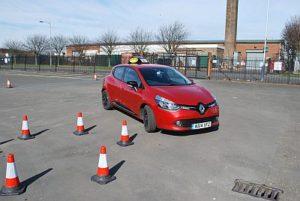red-car-cones